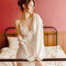 Женская сексуальная ночная рубашка с длинным рукавом, глубоким v-образным вырезом, цветочной кружевной вышивкой, платье на бретельках, комп...(Китай)