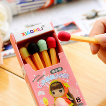 8 pcs/lot (1 box) Cute Kawaii Matches Eraser Lovely Colored Eraser for Kids Students Kids Creative item Gift Free shipping 638