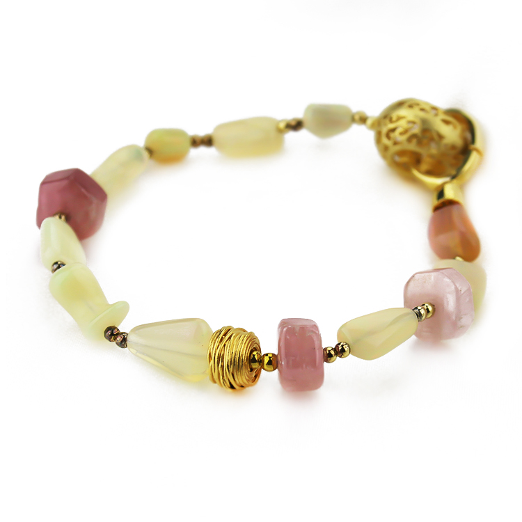 Opal Stone With 925 Sterling Silver Gold Plated Balinese Style Bracelet