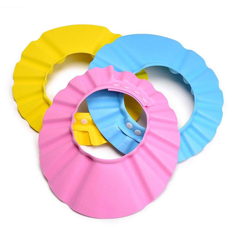 Custom High quality eco friendly recycled EVA foam plastic kids water shampoo tool hat with logo baby bath colorful shower caps