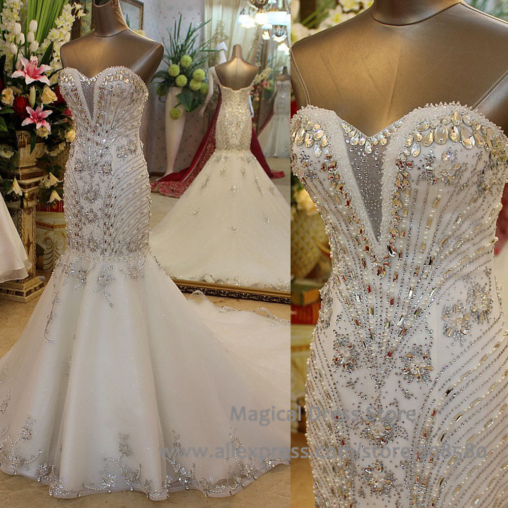 Crystal Bodice Wedding Gown: Aliexpress.com : Buy Real Picture Mermaid China Wedding