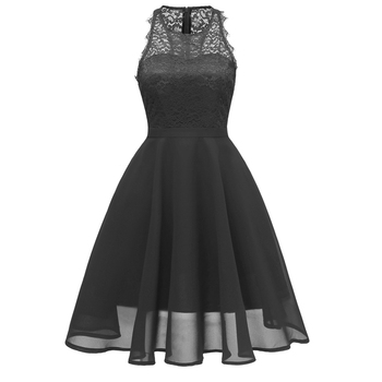 4 Colors Formal Retro Pink Black Ladies Wedding Cocktail Bridesmaid Sleeveless Lace Dress Dresses for Women