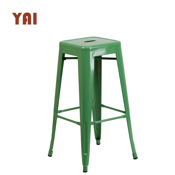 Cheap wood top commercial used steel dining stackable iron industrial metal bar stools wholesale
