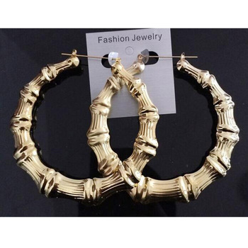 Fashion Exaggerated Big Gold Bamboo Hoop Earrings Personalized, Simple Gold Earring Designs For Women