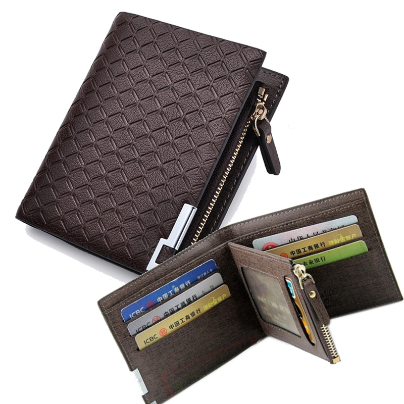 Men/'s Leather Zipper Short Coin Purse Bifold Wallet ID Credit Cards Holder