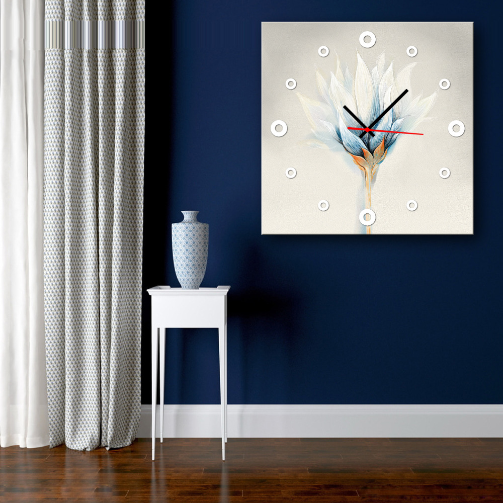 Free Shipping Oil Painting Abstract <font><b>Elegant</b></font> Flower Clock in Canvas Wall <font><b>Home</b></font> <font><b>Decor</b></font> Artwork Clock Painting For Living Room(1PCS)