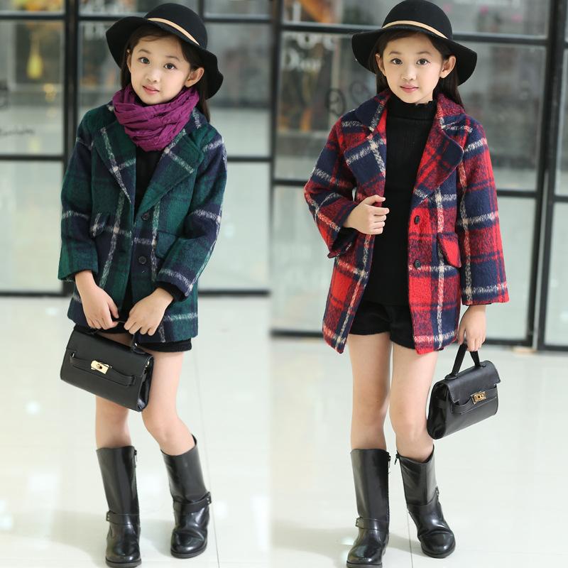 2015 новые девушки одежду плед девушки шерсть осень зима пальто детская одежда утолщение пальто 3 - 12 Years детской одежды