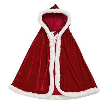 M792 Soft Velvet Santa Hooded Cloak Christmas Warm Cape