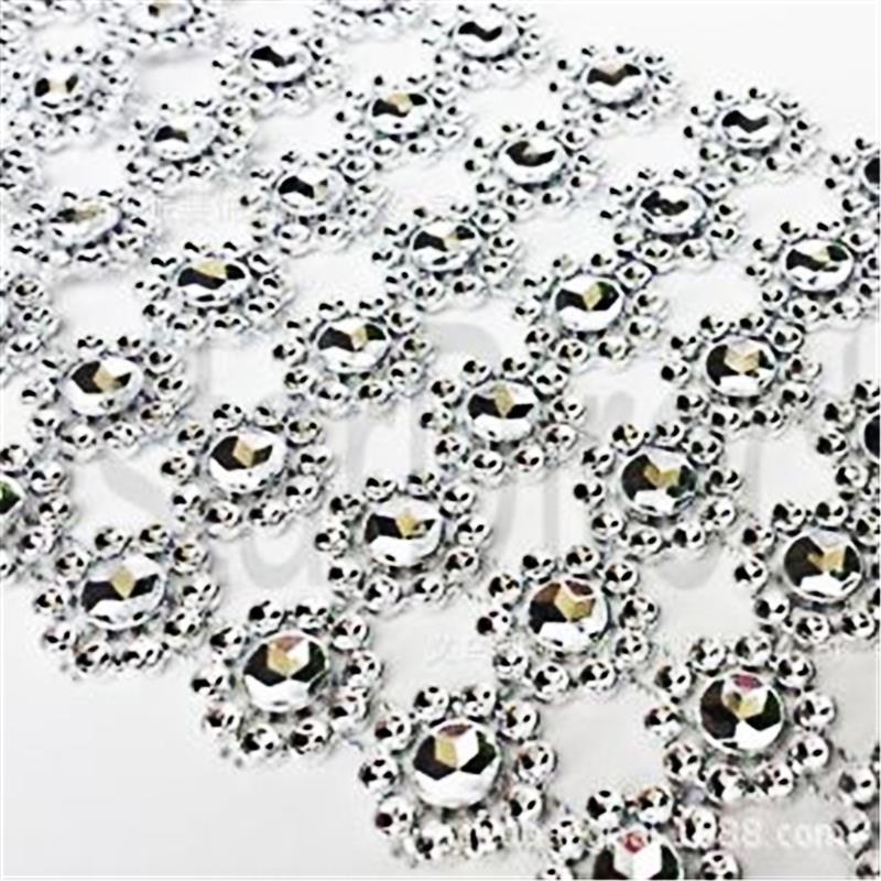 Wholesale Silver 3 75 1yards 6rows Daisy Flower Diamond Mesh Bling