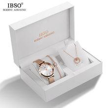 Женские часы IBSO, дизайнерский браслет с кристаллами, ожерелье, набор часов, Женский комплект украшений, модные оригинальные кварцевые часы, ...(China)