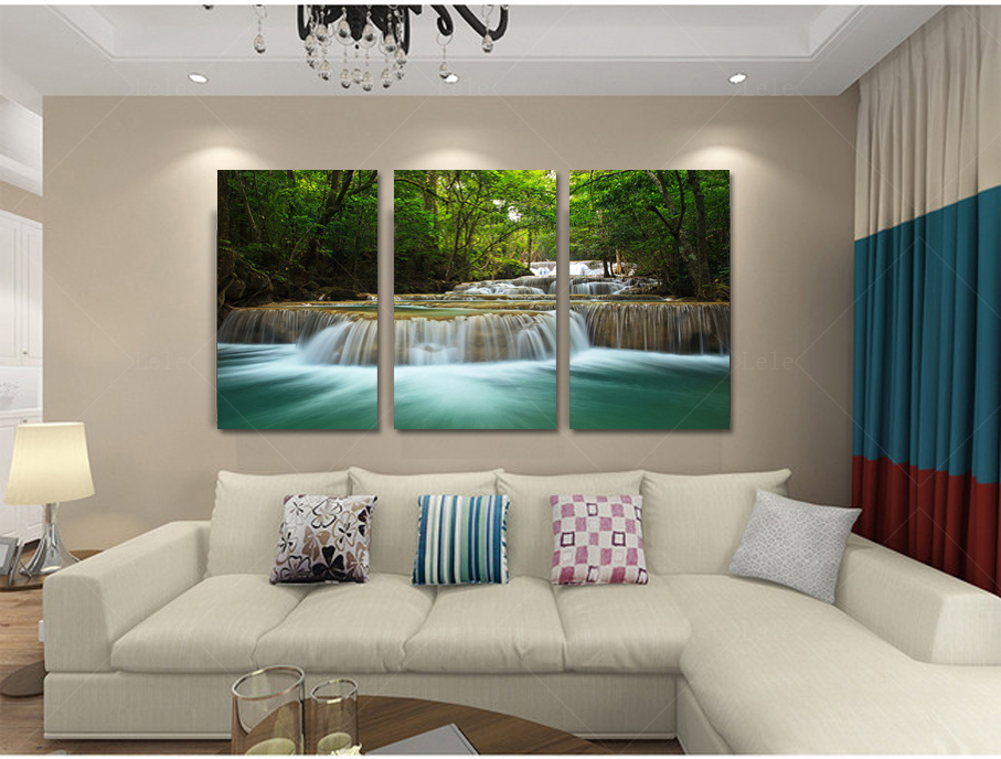 home decoration art creek waterfall landscape poster modular pictures painting on the wall. Black Bedroom Furniture Sets. Home Design Ideas