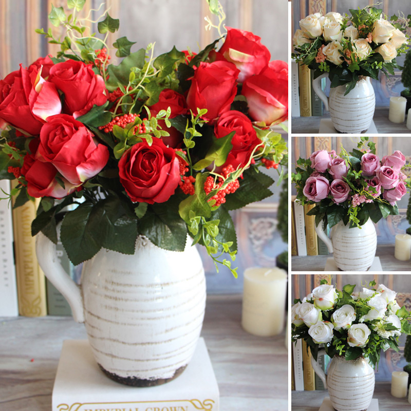 New Charming Beautiful Pretty Artificial Fake 9 Heads Spring Rose Flowers Floral Home Desk Party Decor