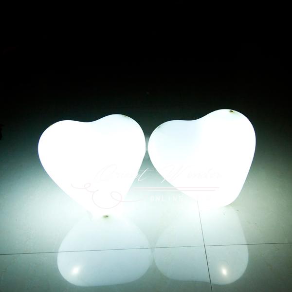 Heart White Led Balloon,Glowing Balloon,30 Pcs/lot