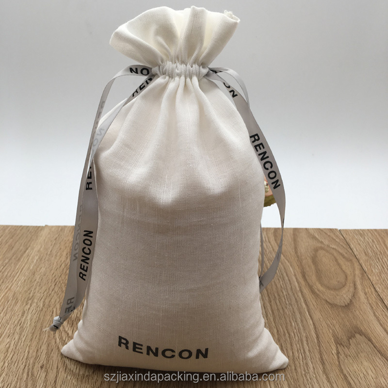 Супермягкая белая льняная упаковочная сумка с лентой