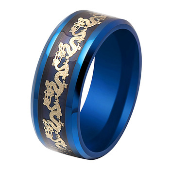 Stainless steel rings with dragon men rings wholesale blue black gold color dragon design power light in dark green color