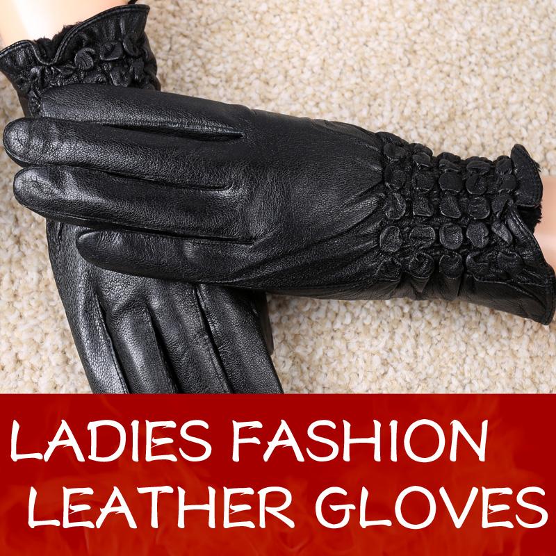 Lady Winter Fashion Gloves Sheepskin Leather Gloves Women