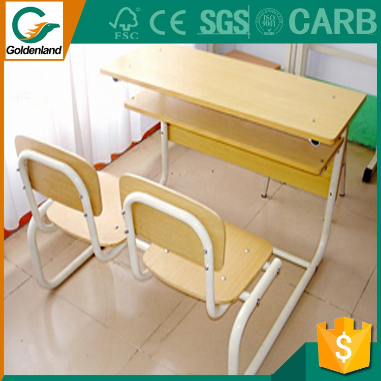 School Furniture Double Wood School Desk and Chair Sets for Middle School