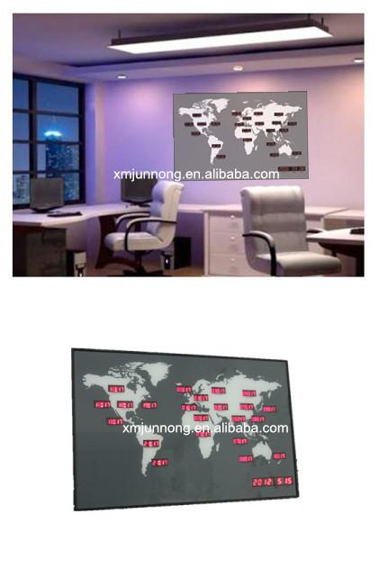 Wall Mounted Led Digital World Time Zone Clock World Map