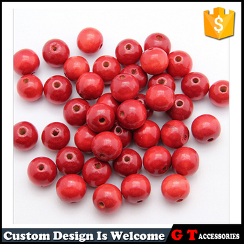 Fashion Red Round Natural Wooden Loose Mala Beads 6mm/12mm/16mm