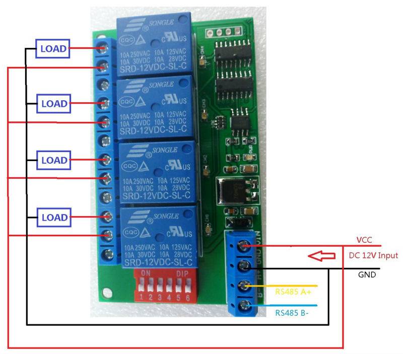4ch 12v modbus rtu pc uart rs485 relay board for plc lamp. Black Bedroom Furniture Sets. Home Design Ideas