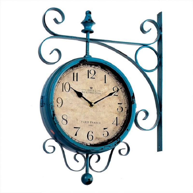watch vintage saat double sided wall clock wrought iron wall clock duvar saati clocks reloj. Black Bedroom Furniture Sets. Home Design Ideas