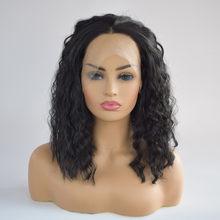 Кудрявый парик без клея, полный кружевной парик, черные женские индийские Remy человеческие волосы, кружевные передние дамские модные натура...(Китай)