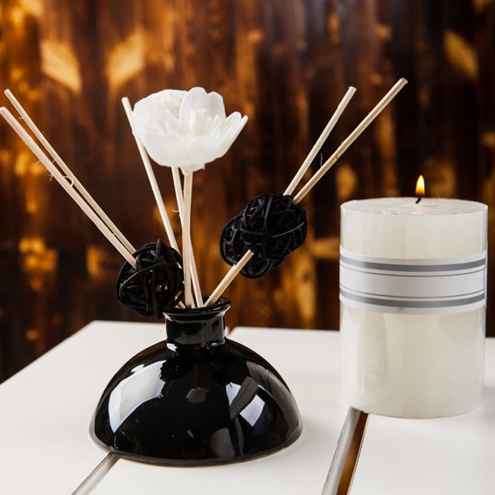 Customized Black Bottle Reed Diffuser Rattan Stick Sola