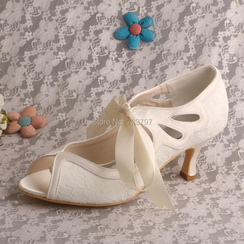 Wedopus MW539 Mid Heel Lace Bridal Shoes Wedding Ladies
