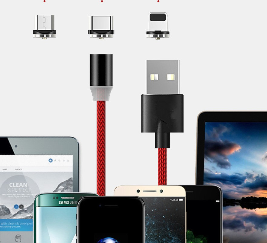 1m 3feet 3in1 2in1 magnetic cable magnet charging usb data cable charger for iphone micro type c magnetic Type-c usb cable