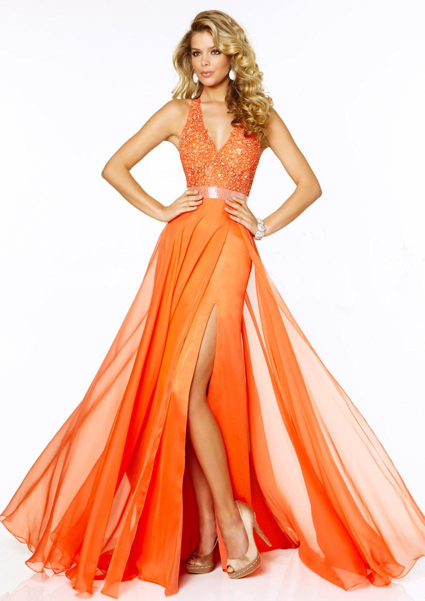 l0122 orange lang galajurken prom dress 2016 robe bal de. Black Bedroom Furniture Sets. Home Design Ideas