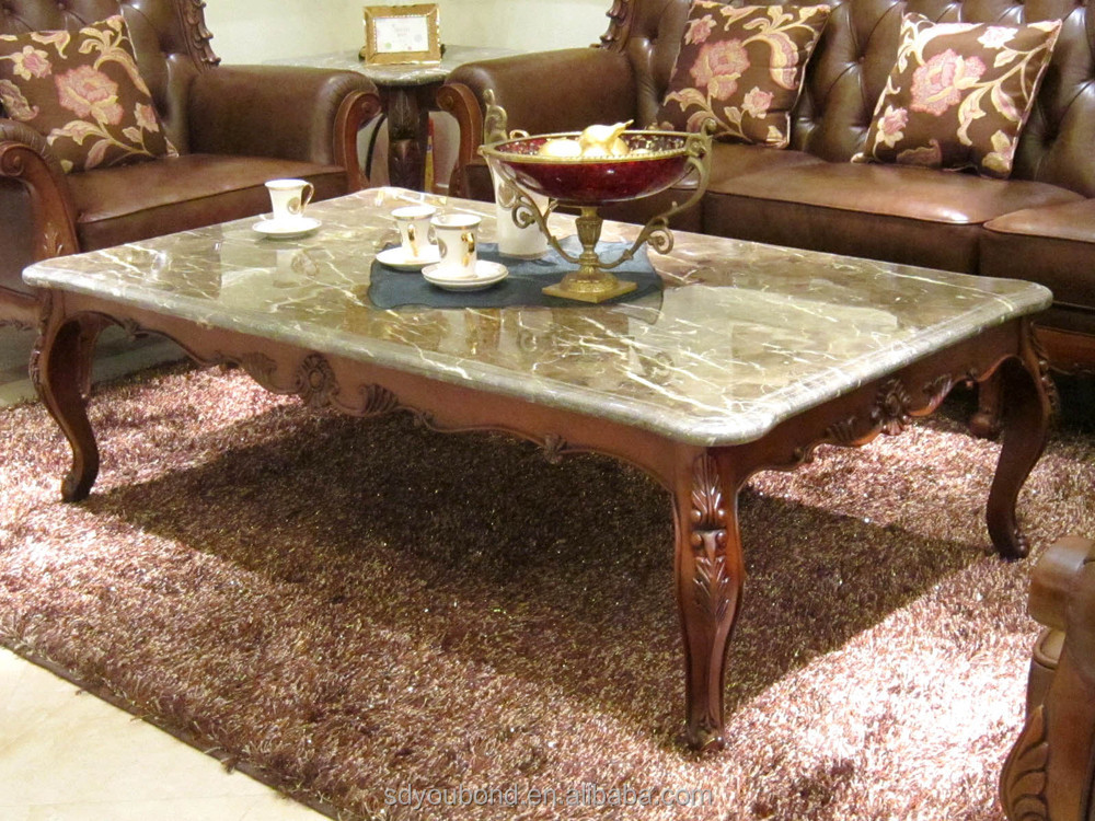 0052 European Classic House Use Marble Top Coffee Table
