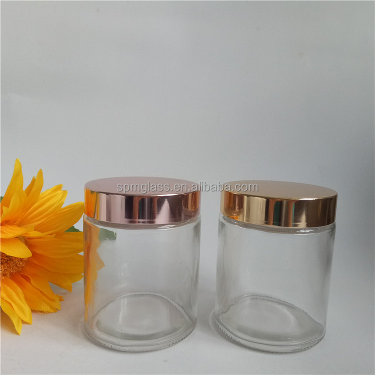 Luxury Round Straight Sided Glass Jar Rose Gold Lid For Cosmetic Spice Food Candle Buy Glass Jar Rose Gold Lid Frosted Glass Jars With Caps Straight Sided Glass Jar Product On Alibaba Com
