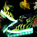 2016 New Fashion Sneakers With Led Light Wings Kids Shoes Children Boy Girl Usb Charging Luminous