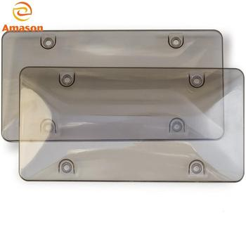 Clear Smoked License Plate Cover Frame Shields -2 pack Novelty/License Plate Clear Smoked Bubble Shields