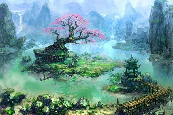 Painting Artwork Fantasy Art Trees <font><b>Asian</b></font> Architecture Bonsai Waterfall River Pier 4 Sizes <font><b>Home</b></font> <font><b>Decoration</b></font> Canvas Poster Print