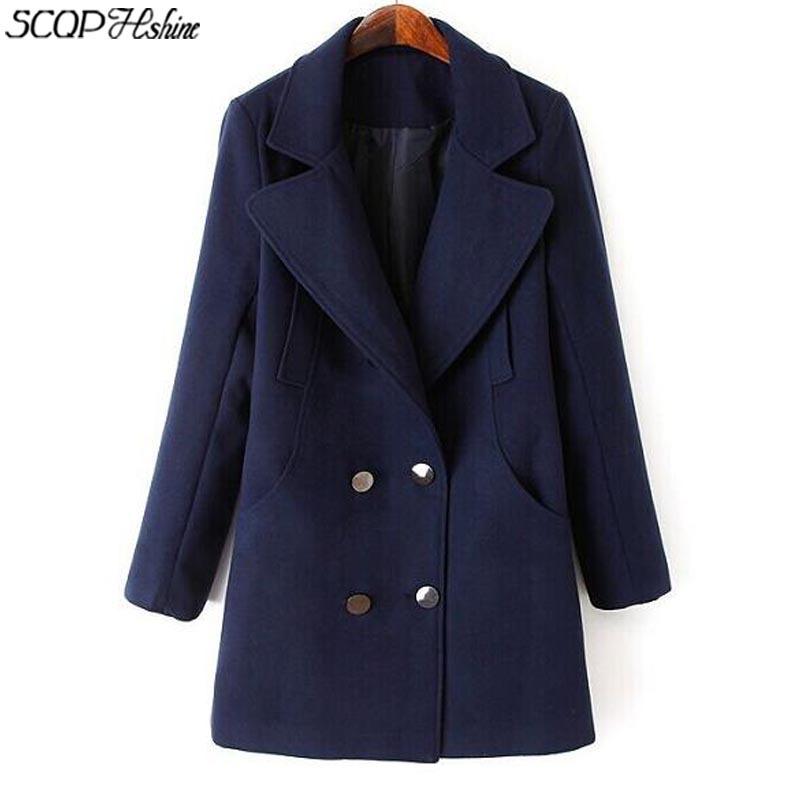 2015 New Brown Women Wool Coats женщины зима смесь Long Sleeve Solid Womens Peacoat Blue Elegant Female Overcoat Office Party Red Ladies Blend FF72