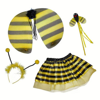 Bumble Bee Costume For Kids Wings Fairy Wand Tutu Skirt and Headband Set CH429