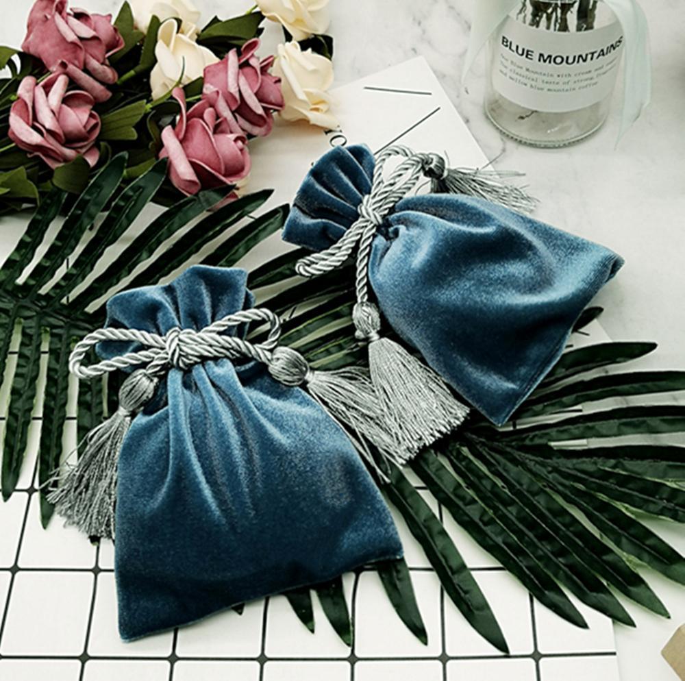 Пользовательские бархатный мешок бархата мешочек для ювелирных изделий с кисточкой