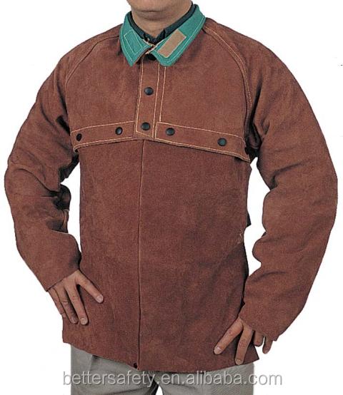 Brown Split Cowhide Leather Welding Cape Sleeves With Detachable Split Leather Apron - KingCare   KingCare.net