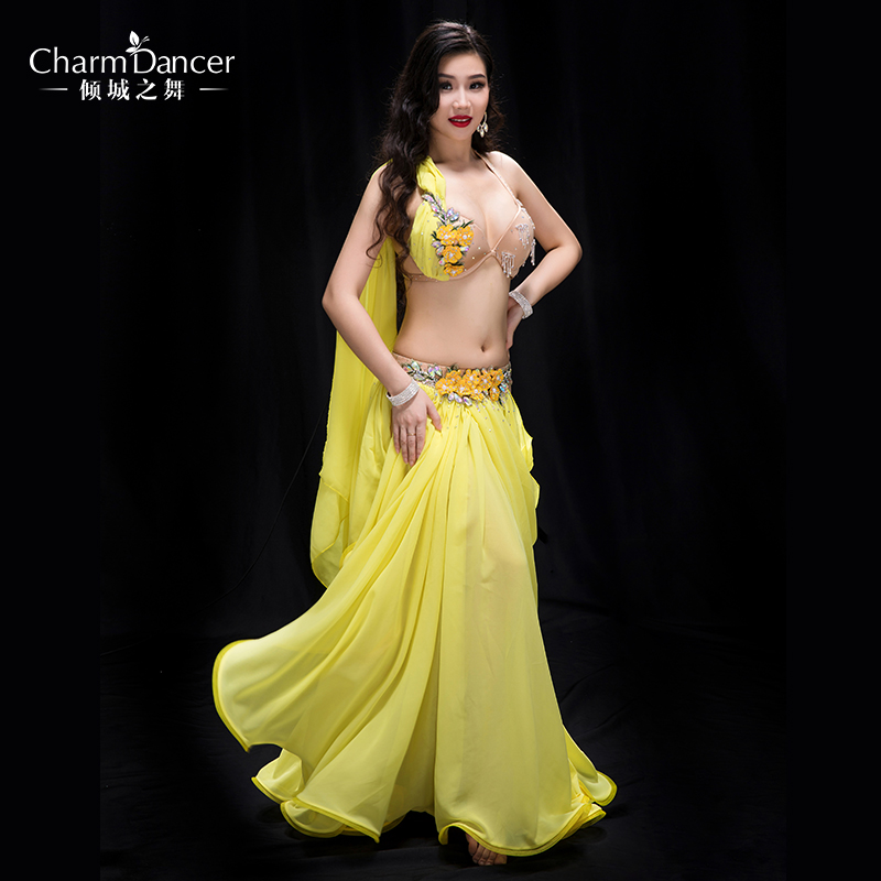 YC043 Performance Professional bellydance costumes Spandex and Pearl Chiffon belly dance wear for girl
