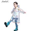 2016 ActhInK New Kids Transparent Rainbow Raincoat for Girls Boys Outdoor Waterproof Party Rainbow Coat Children