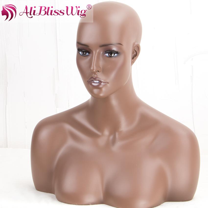 Aliblisswig Wholesale Fashion Designer Black Female Fiberglass Makeup Wig Display African American Mannequin Head