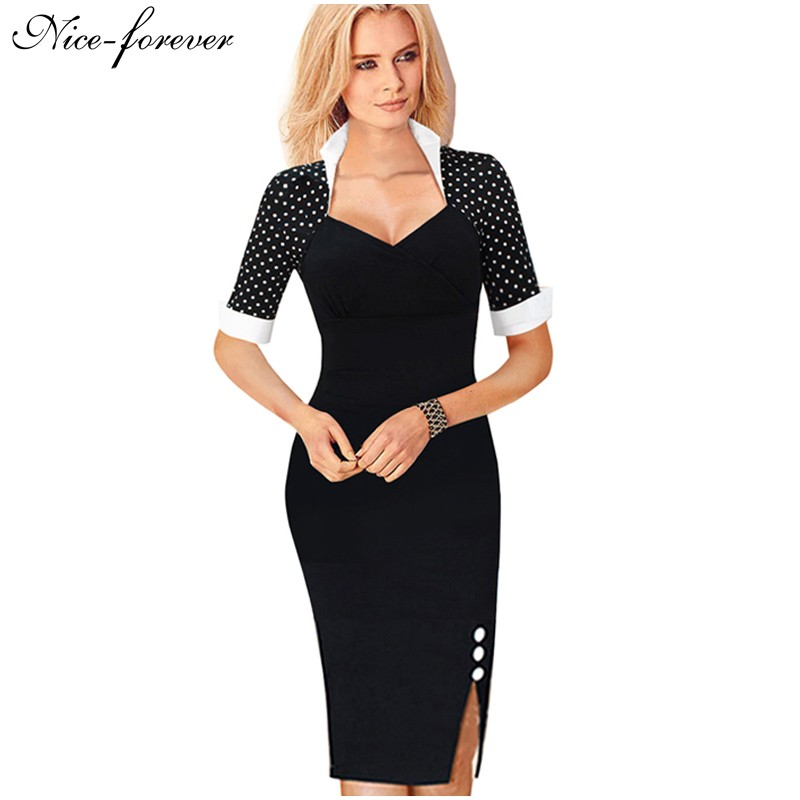 nice forever polka dots elegant women patchwork buttons square neck sheath dress business wear. Black Bedroom Furniture Sets. Home Design Ideas
