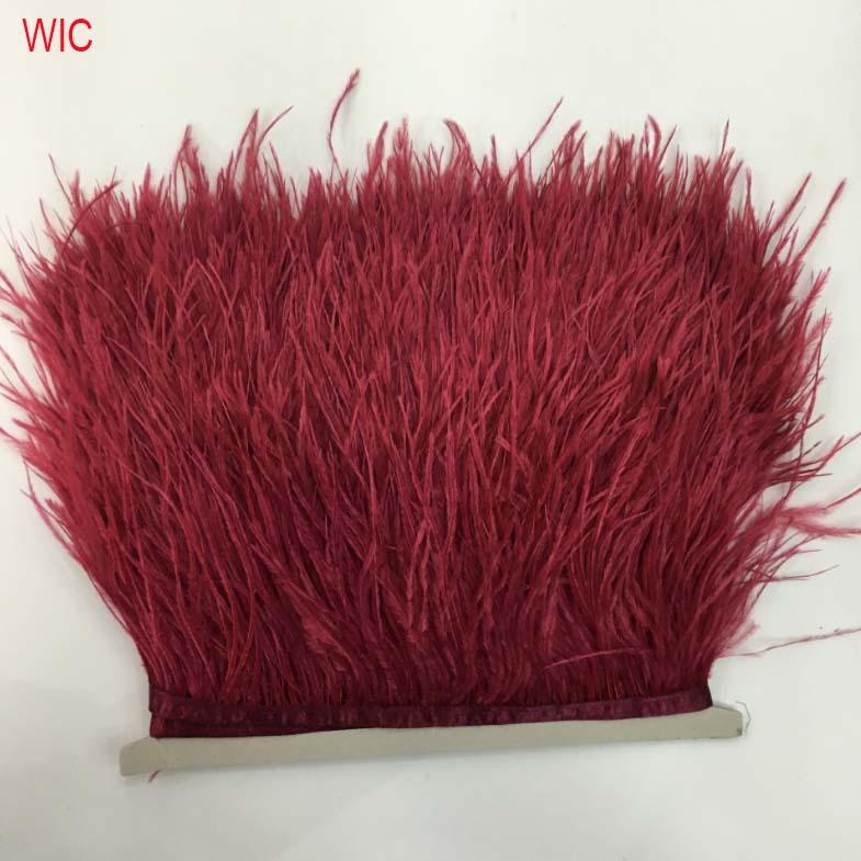 Окрашенное страусиное перо бордового красного цвета отделка перо бахрома