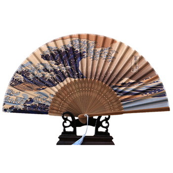 Japanese Bule Retro Crafts Silk Fans Hand Wedding Custom Wholesale Personalized White Decorative hand fan bamboo