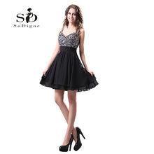 Платье для выпускного вечера 2018 SoDigne, расшитое блестками, с открытой спиной, ТРАПЕЦИЕВИДНОЕ ПЛАТЬЕ со складками на заказ, Vestido De Festas Curto, наряд...(Китай)