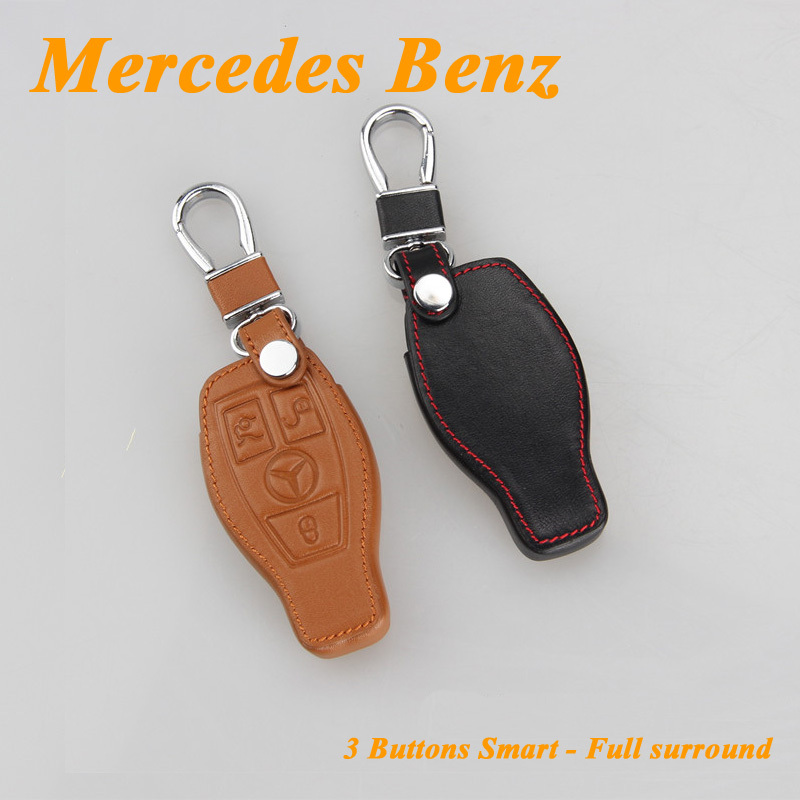 for mercedes benz car keychain genuine leather car key case fob cover smart car key chain rings. Black Bedroom Furniture Sets. Home Design Ideas