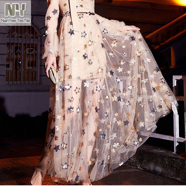 Nanyee Textile Light Breathable Stars Mesh Embroidery Women Sequin Dress Fabric