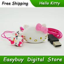 5 pcs/lot 100% Brand New Mini Fashion Hello Kitty Shaped Card Reader MP3 Music Players With Hello Kitty Earphone&Mini USB