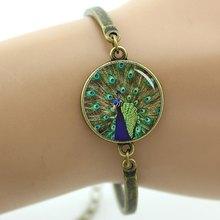 Женский браслет в стиле стимпанк TAFREE, браслет с изображением перьев павлина и зеленого пера, ювелирные изделия на день матери, T758(Китай)
